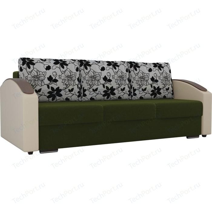 Прямой диван Лига Диванов Монако slide микровельвет зеленый подлокотники экокожа коричневые подушки рогожка на флоке