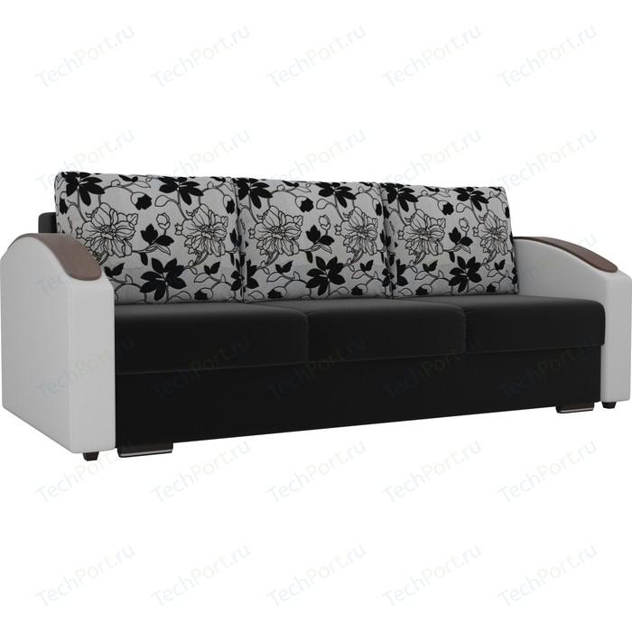 Прямой диван Лига Диванов Монако slide микровельвет черный подлоктники экокожа белые подушки рогожка на флоке