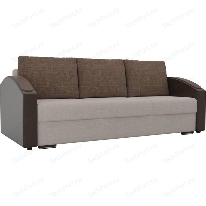 Прямой диван Лига Диванов Монако slide рогожка бежевый подлокотники экокожа коричневые подушки