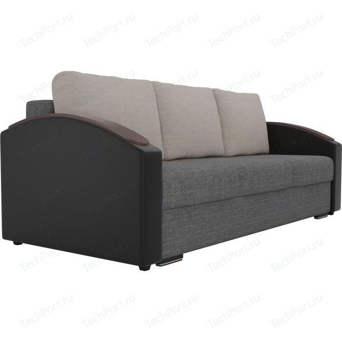 Прямой диван Лига Диванов Монако slide рогожка серый подлокотники экокожа черные подушки бежевые