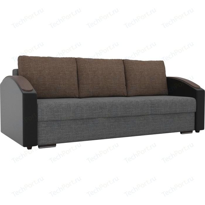 Прямой диван Лига Диванов Монако slide рогожка серый подлокотники экокожа черные подушки коричневая