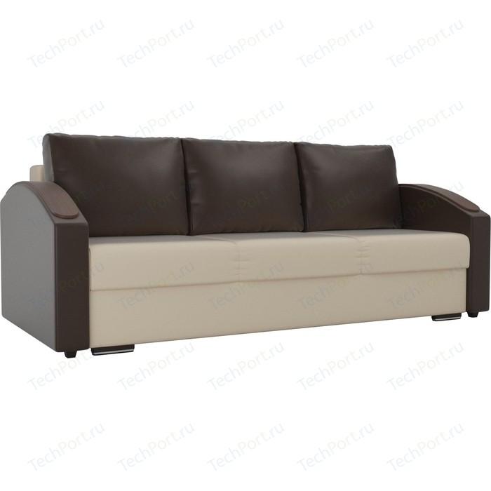Прямой диван Лига Диванов Монако slide экокожа бежевый подлокотники коричневые подушки