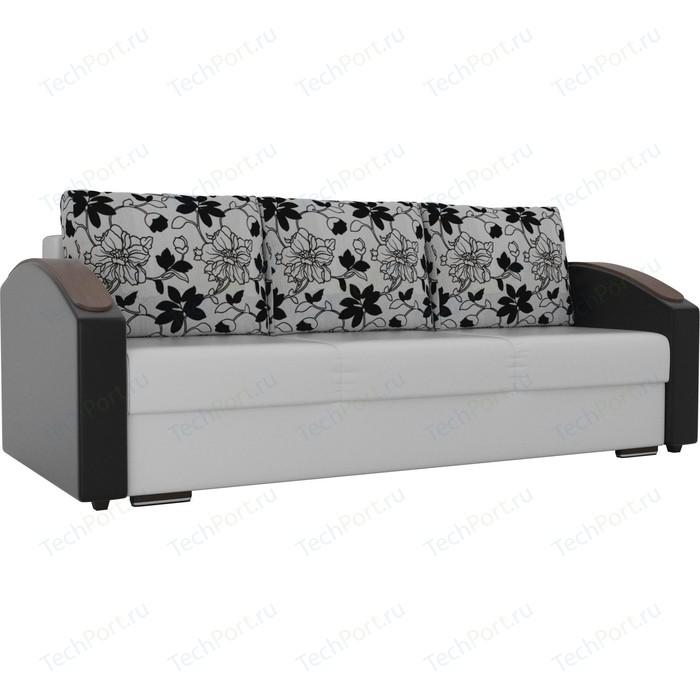 Прямой диван Лига Диванов Монако slide экокожа белый подлокотники черные подушки рогожка на флоке