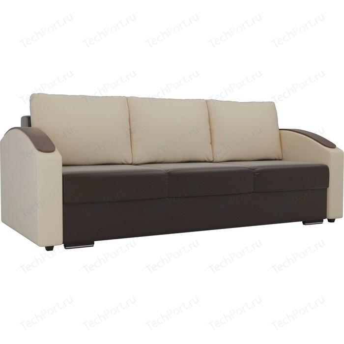 Прямой диван Лига Диванов Монако slide экокожа коричневый подлокотники бежевые подушки