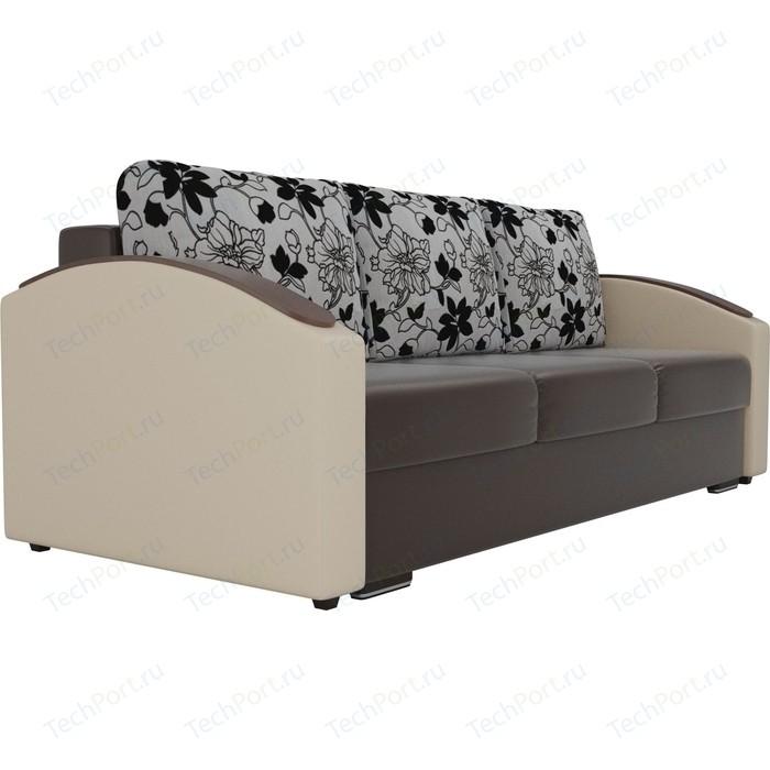 Прямой диван Лига Диванов Монако slide экокожа коричневый подлокотники бежевые подушки рогожка на флоке прямой диван лига диванов монако велюр коричневый подлокотники экокожа бежевые