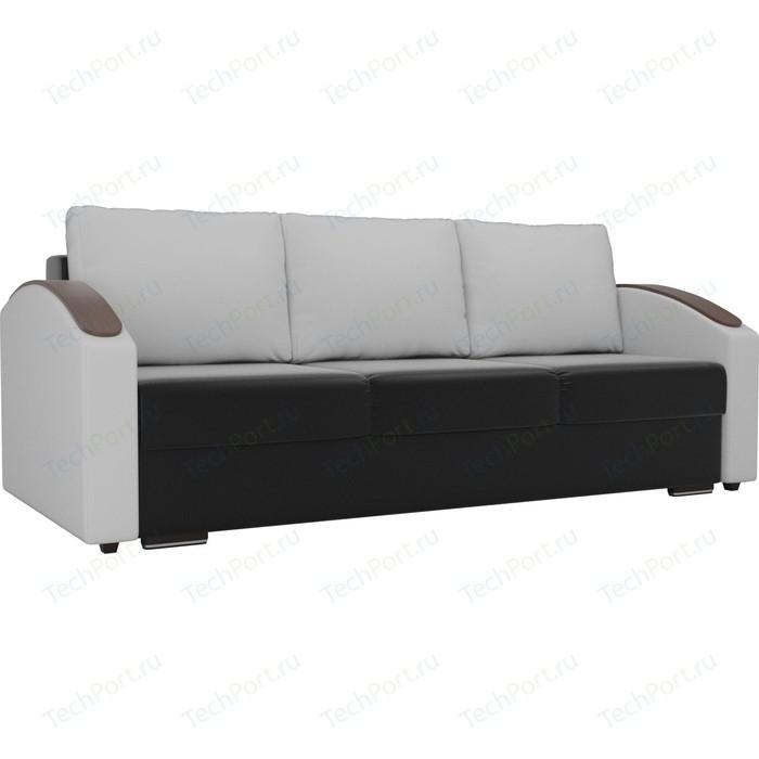 Прямой диван Лига Диванов Монако slide экокожа черный подлокотники белые подушки белые прямой диван лига диванов монако slide экокожа черный подлокотники белые подушки белые