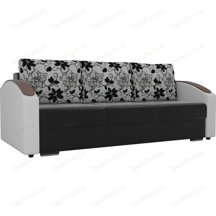 Прямой диван Лига Диванов Монако slide экокожа черный подлокотники белые подушки рогожка на флоке