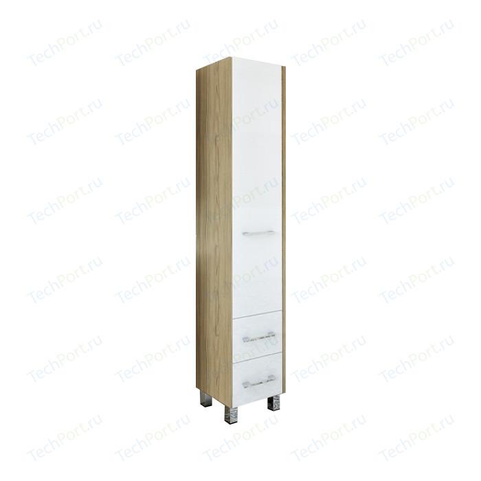 Шкаф-пенал Sanflor Ларго 40 напольный, правый, швейцарский вяз\белый (H0000000029)