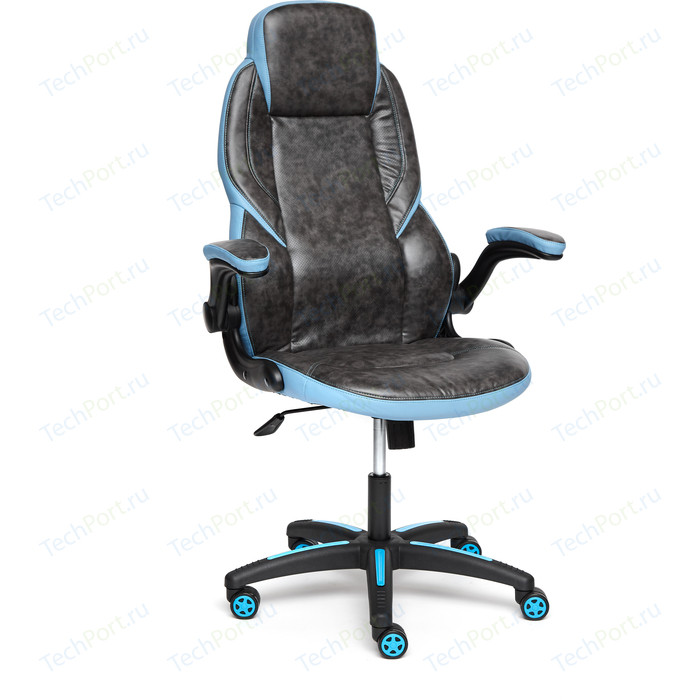 Кресло TetChair BAZUKA кож/зам серый/голубой 2TONE/2TONE перф/04-20