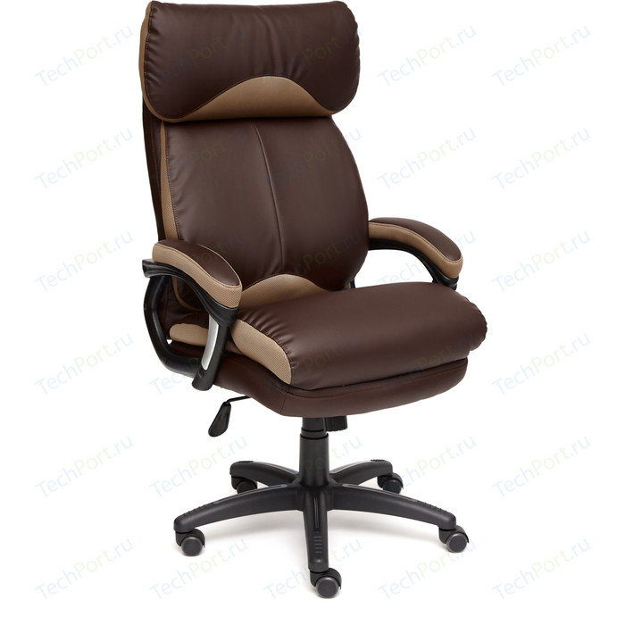 Кресло TetChair DUKE кож/зам/ткань коричневый/бронза 36-36/21