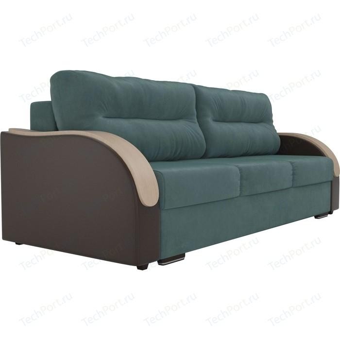 Прямой диван Лига Диванов Дарси велюр бирюза подлокотники экокожа коричневые прямой диван лига диванов дарси велюр синий подлокотники экокожа черные