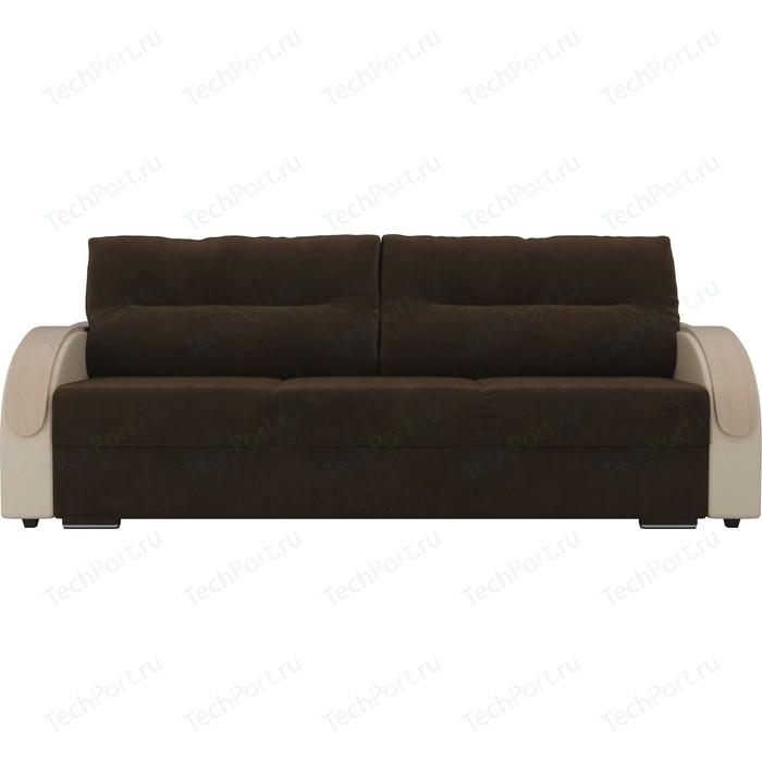 Прямой диван Лига Диванов Дарси велюр коричневый подлокотники экокожа бежевые прямой диван лига диванов дарси велюр синий подлокотники экокожа черные