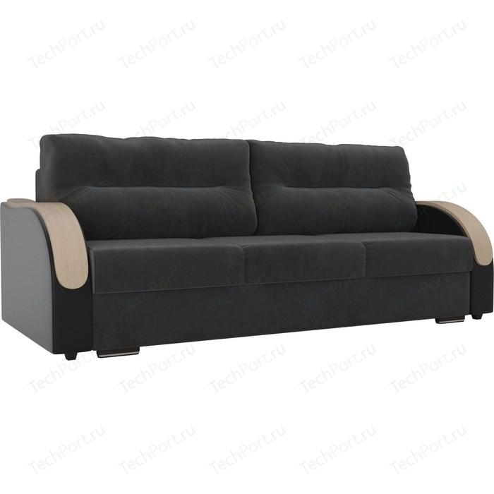Прямой диван Лига Диванов Дарси велюр серый подлокотники экокожа черные прямой диван лига диванов дарси велюр синий подлокотники экокожа черные