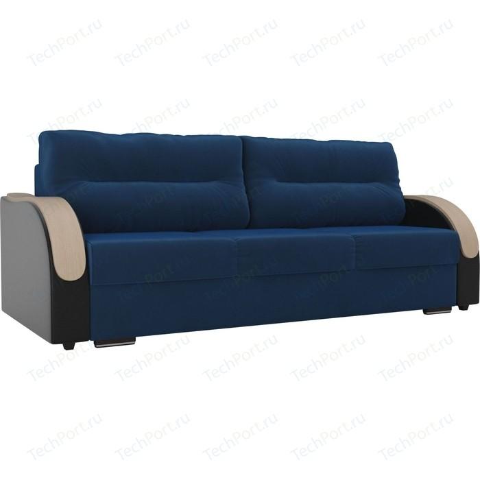 Прямой диван Лига Диванов Дарси велюр голубой подлокотники экокожа черные прямой диван лига диванов дарси велюр синий подлокотники экокожа черные