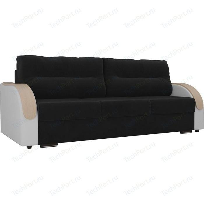 Прямой диван Лига Диванов Дарси велюр черный подлокотники экокожа белые прямой диван лига диванов дарси велюр синий подлокотники экокожа черные