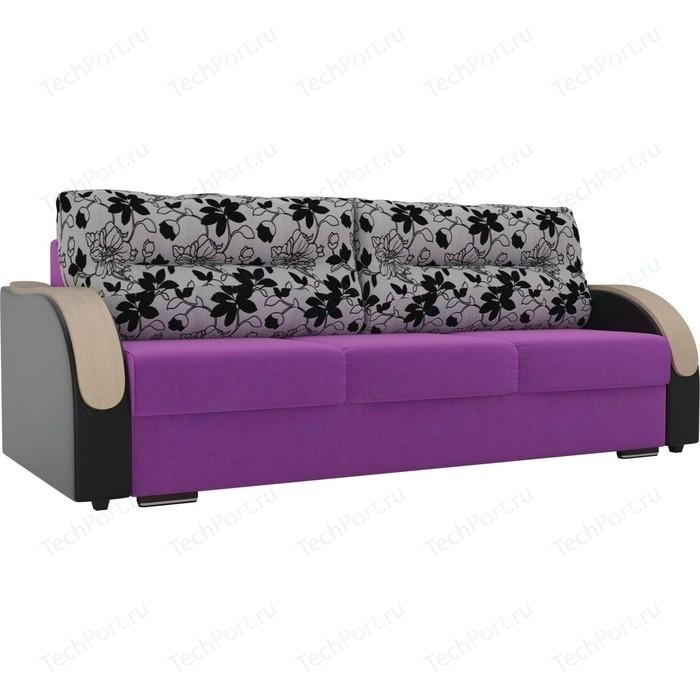 Прямой диван Лига Диванов Дарси микровельвет фиолетовый подлкотники экокожа черные подушки рогожка на флоке