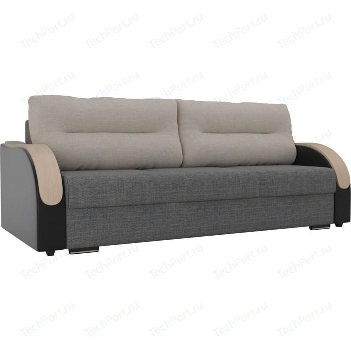 Прямой диван Лига Диванов Дарси рогожка серый подлокотники экокожа черные подушки бежевые