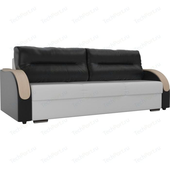 Прямой диван Лига Диванов Дарси экокожа белый подлокотники черные подушки