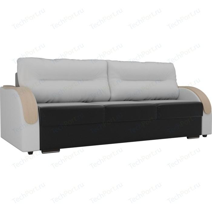 Прямой диван Лига Диванов Дарси экокожа черный подлокотники белые подушки