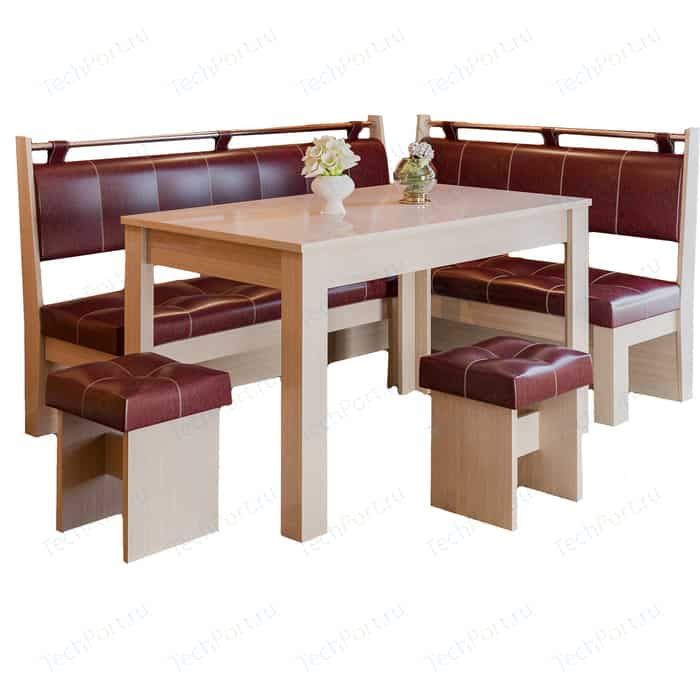 Кухонный уголок Это-мебель Остин дуб белфорд/бордо