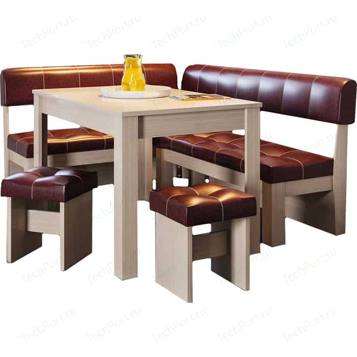Кухонный уголок Это-мебель Валенсия дуб белфорд/бордо