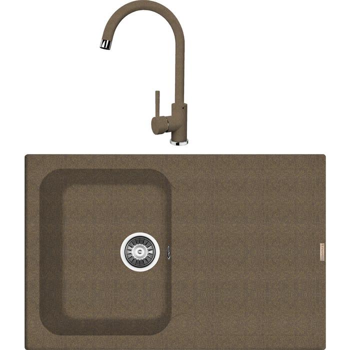 Кухонная мойка и смеситель Florentina Гаттинара 780 коричневый Fg (20.255.B0780.105 + 313.01H.1123.105)