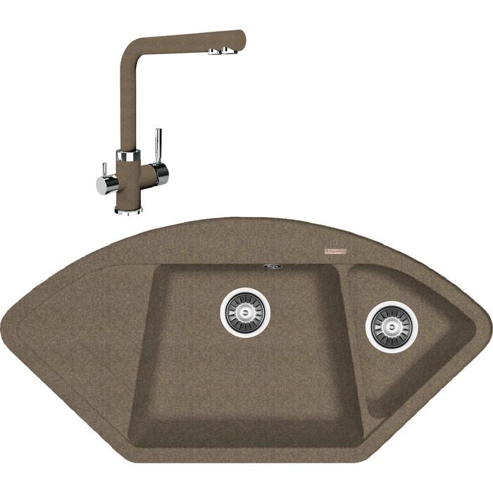 Кухонная мойка и смеситель Florentina Веста коричневый Fg (20.285.E1005.105 + 333.19H.2123.105)