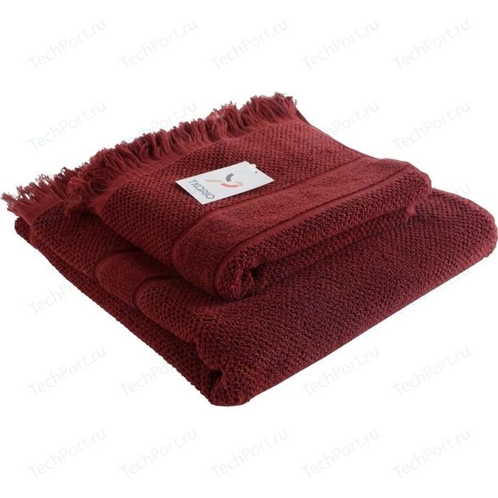 Банное полотенце с бахромой бордового цвета 70х140 Tkano Essential (TK18-BT0030)