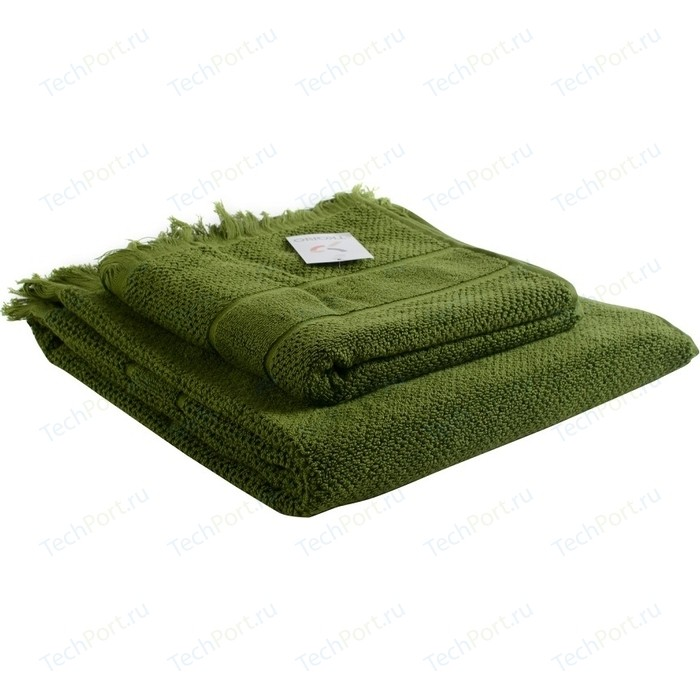 Полотенце для рук с бахромой оливково-зеленого цвета 50х90 Tkano Essential (TK18-BT0025)