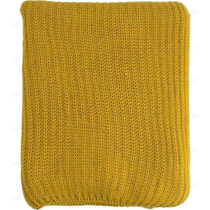 Плед вязаный горчичного цвета 180х130 Tkano Essential (TK18-TH0006)