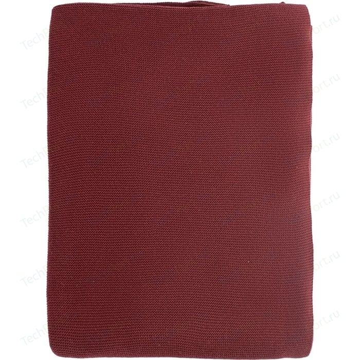 Плед вязаный бордового цвета 180х130 Tkano Essential (TK18-TH0010)