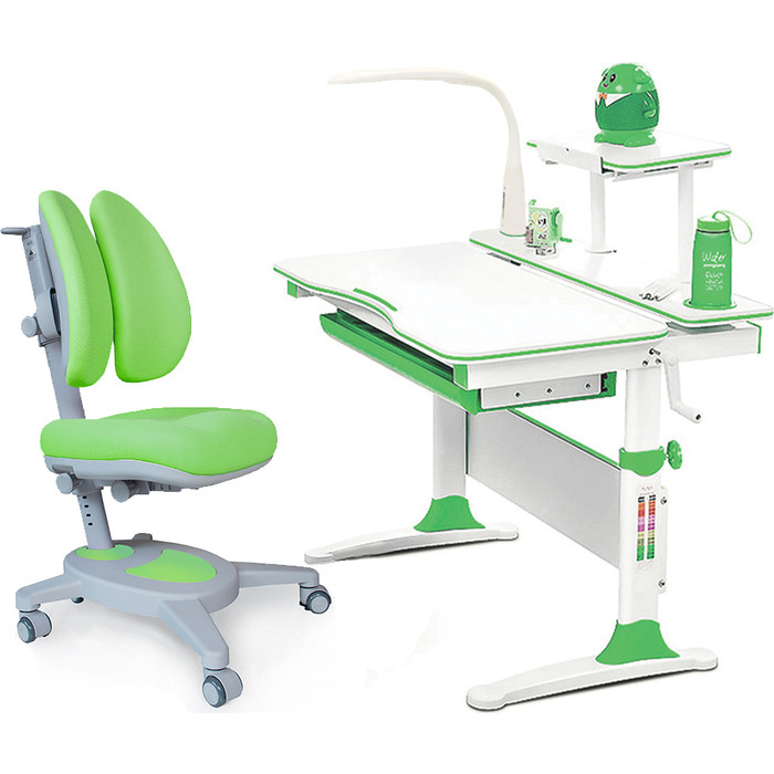 Комплект (стол+полка+кресло+чехол+лампа) Mealux Evo-kids Evo-30 Z (Evo-30 + Y-115 KZ) белая столешница дерево/пластик зеленый