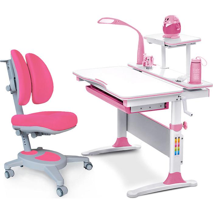 Комплект (стол+полка+кресло+чехол+лампа) Mealux Evo-kids Evo-30 PN (Evo-30 + Y-115 KP) /белая столешница дерево/пластик розовый