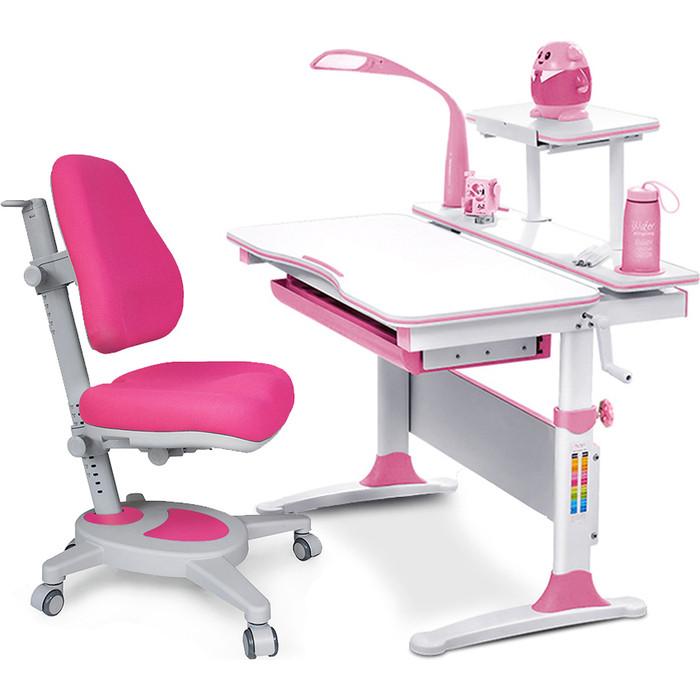Комплект (стол+полка+кресло+чехол+лампа) Mealux Evo-kids Evo-30 PN (Evo-30 + Y-110 KP) белая столешница дерево/пластик розовый