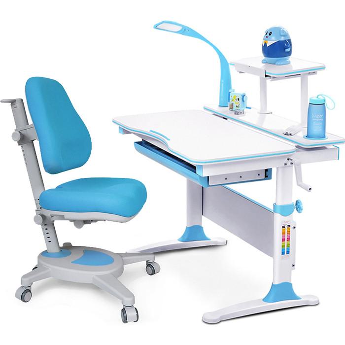 Комплект (стол+полка+кресло+чехол+лампа) Mealux Evo-kids Evo-30 BL (Evo-30 + Y-110 KBL) белая столешница дерево/пластик голубой