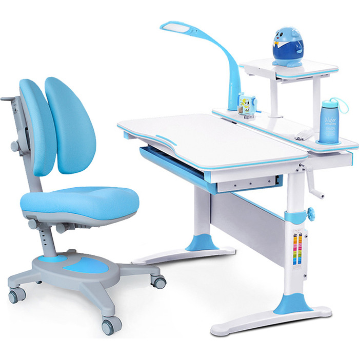 Комплект (стол+полка+кресло+чехол+лампа) Mealux Evo-kids Evo-30 BL (Evo-30 + Y-115 KBL) белая столешница дерево/пластик голубой