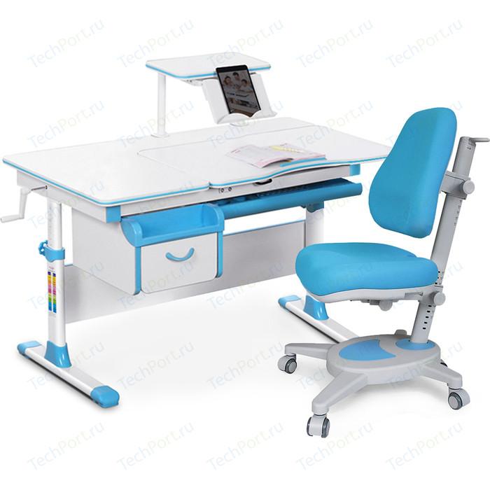 Комплект (стол+полка+кресло+чехол) Mealux Evo-kids Evo-40 BL (Evo-40 + Y-110 KBL) белая столешница/пластик голубой