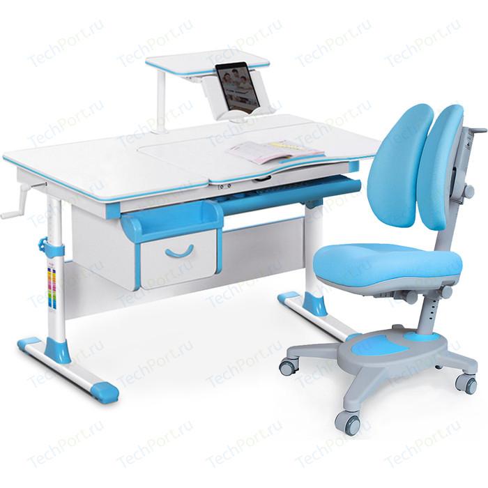 Комплект (стол+полка+кресло+чехол) Mealux Evo-kids Evo-40 BL (Evo-40 + Y-115 KBL) белая столешница/пластик голубой