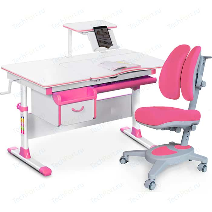 Комплект (стол+полка+кресло+чехол) Mealux Evo-kids Evo-40 PN (Evo-40 + Y-115 KP) белая столешница/пластик розовый