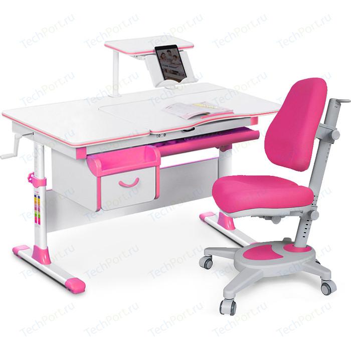 Комплект (стол+полка+кресло+чехол) Mealux Evo-kids Evo-40 PN (Evo-40 + Y-110 KP) белая столешница/пластик розовый
