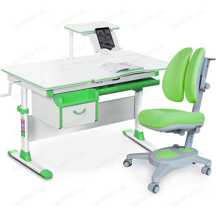 Комплект (стол+полка+кресло+чехол) Mealux Evo-kids Evo-40 Z (Evo-40 + Y-115 KZ) белая столешница/пластик зеленый