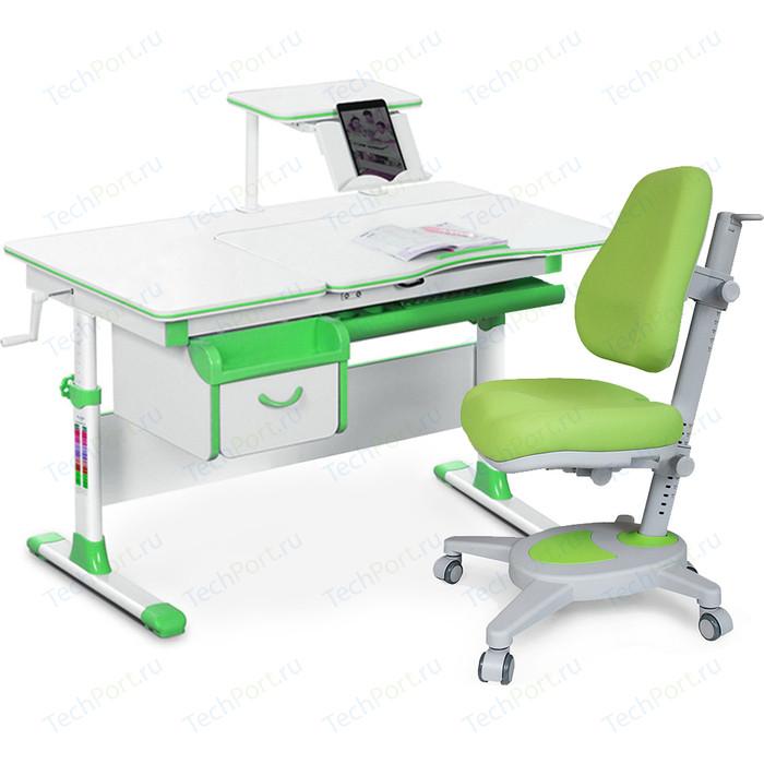 Комплект (стол+полка+кресло+чехол) Mealux Evo-kids Evo-40 Z (Evo-40 + Y-110 KZ) белая столешница/пластик зеленый