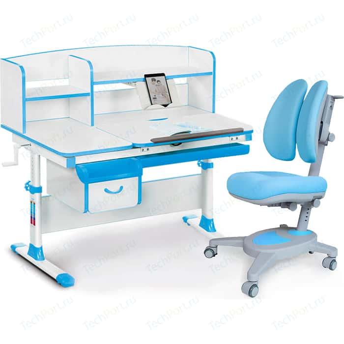 Комплект (стол+полка+кресло+чехол) Mealux Evo-kids Evo-50 BL (Evo-50 + Y-115 KBL) белая столешница/пластик голубой