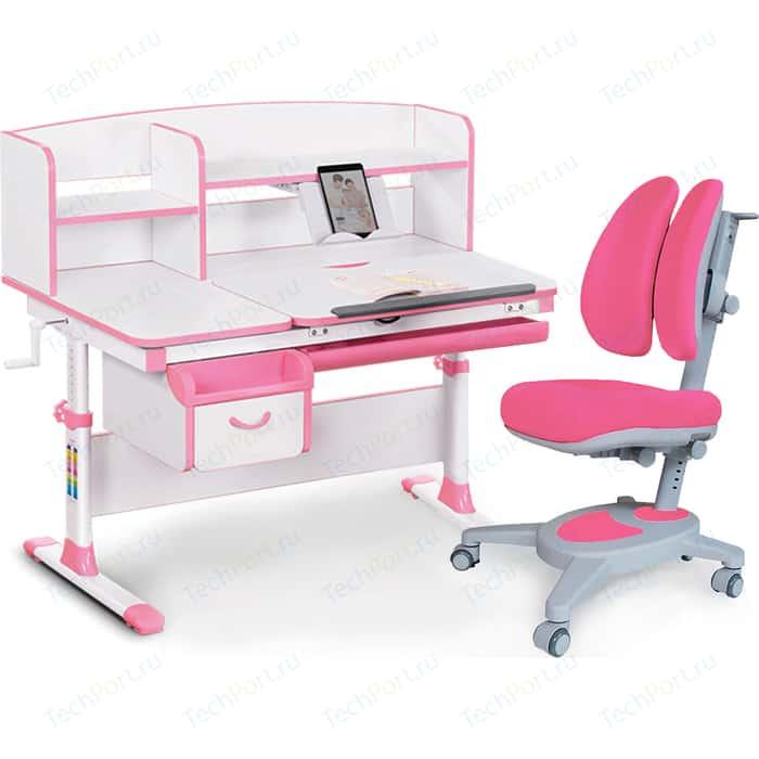 Комплект (стол+полка+кресло+чехол) Mealux Evo-kids Evo-50 PN (Evo-50 + Y-115 KP) белая столешница/пластик розовый