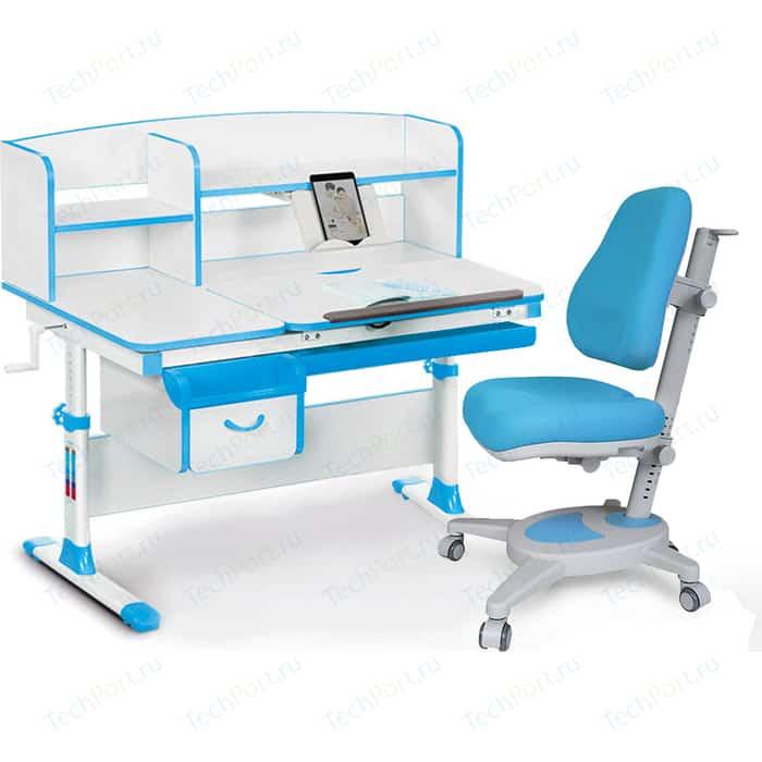 Комплект (стол+полка+кресло+чехол) Mealux Evo-kids Evo-50 BL (Evo-50 + Y-110 KBL) белая столешница/пластик голубой