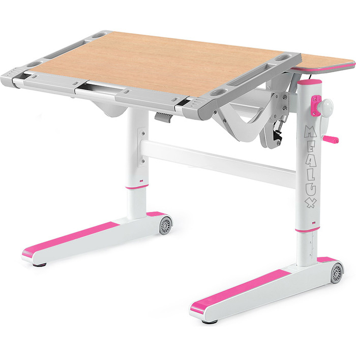 Детский стол Mealux Ergowood-M MG/PN BD-800 столешница клен дерево/накладки на ножках розовые