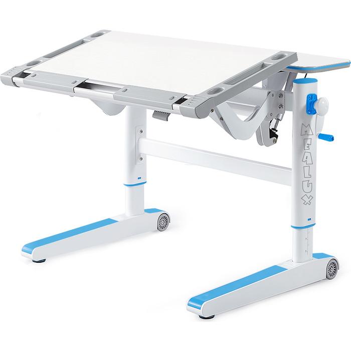 Детский стол Mealux Ergowood-M W/BL BD-800 W/BL столешница белая дерево/накладки на ножках голубые морозильный ларь kraft bd w 225 bl с дисплеем белый