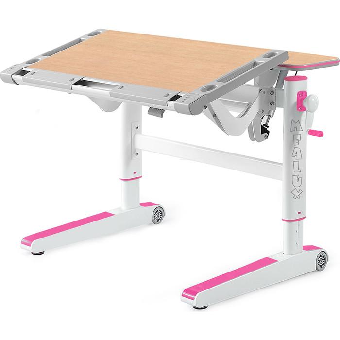Детский стол Mealux Ergowood-L MG/PN BD-810 столешница клен дерево/накладки на ножках розовые