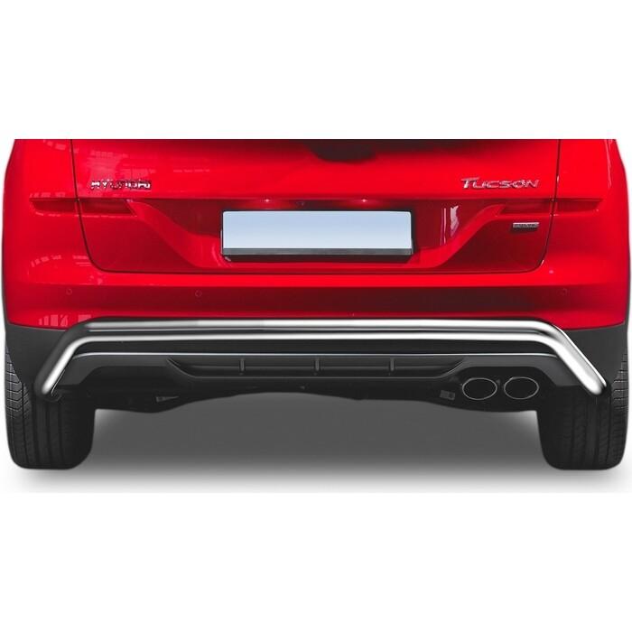 Защита заднего бампера d57 скоба Rival для Hyundai Tucson III рестайлинг (кроме High-Tech Plus) (2018-н.в.), R.2311.009