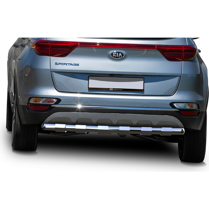 Защита заднего бампера d57 усиленная Rival для Kia Sportage IV рестайлинг (кроме GT-Line) (2018-н.в.), R.2811.003
